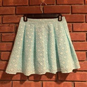 Tobi Patterned Turquoise Skater Skirt